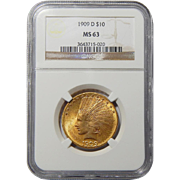 1909-D Ngc MS63 $10 Indian Gold