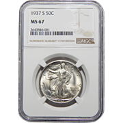 1937-S Ngc MS67 Walking Liberty Half Dollar