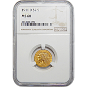 1911-D Ngc MS60 $2.50 Strong D Indian Gold