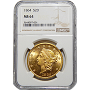 1864 Ngc MS64 $20 Liberty Head Gold