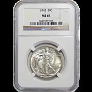 1943 Ngc MS64 Walking Liberty Half Dollar