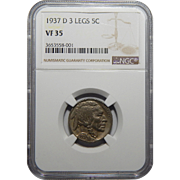1937-D Ngc 3 Legs VF35 Buffalo Nickel