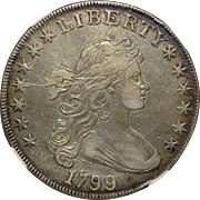 1799 $1 NGC XF Details, Improperly Cleaned Draped Bust Dollar