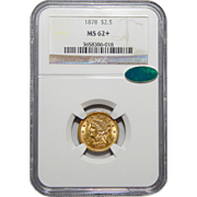 1878 Ngc/Cac MS62+ $2.50 Liberty Head Gold