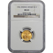 1926 Ngc MS63 $2.50 Sesquicentennial Gold