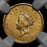 1854 Ngc AU58 Type-2 $1 Gold