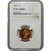 1904 Ngc PF65 Cameo $5 Liberty Head Gold