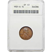 1931-S Anacs XF40BN Lincoln Wheat Cent