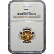 1879 Ngc MS61 $2.50 Liberty Head Gold