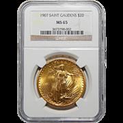 1907 Ngc MS65 $20 Saint Gaudens