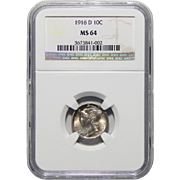 1916-D Ngc MS64 Mercury Dime