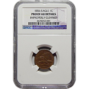 1856 Ngc Proof AU Details, Improperly Cleaned Flying Eagle Cent