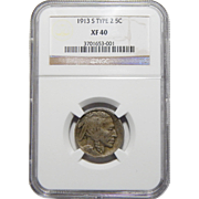 1913-S Ngc XF40 Type 2 Buffalo Nickel