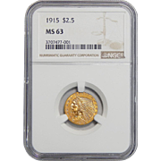 1915 Ngc MS63 $2.50 Indian Gold