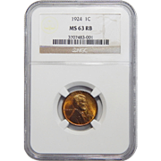 1924 Ngc MS63RB Lincoln Wheat Cent