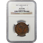 1857 NGC AU50BN Large Date, N-1 Braided Hair Large Cent