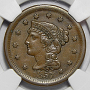 1857 NGC AU55BN Large Date,N-1 Braided Hair Large Cent
