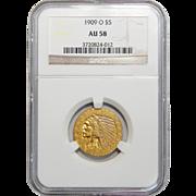 1909-O Ngc AU58 $5 Indian Gold