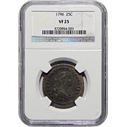 1796 Ngc VF25 Draped Bust Quarter