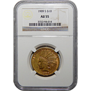 1909-S Ngc AU55 $10 Indian Gold