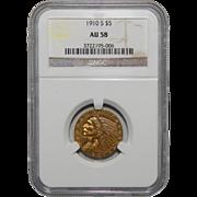 1910-S Ngc AU58 $5 Indian Gold
