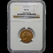 1913-S Ngc AU55 $5 Indian Gold