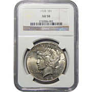 1928 Ngc AU58 Peace Dollar