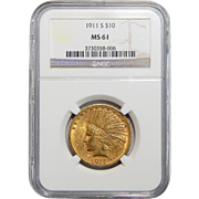 1911-S Ngc MS61 $10 Indian Gold