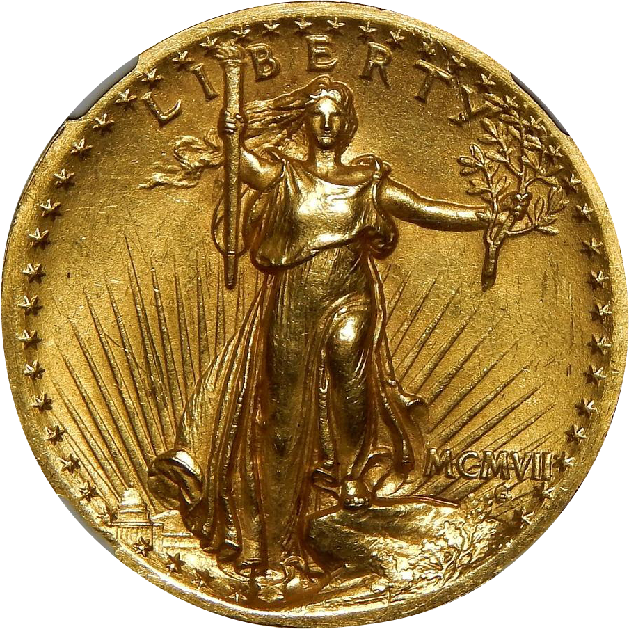1907 ngc ms62 20 high relief wire edge st gaudens gold from coin and bullion reserves on ruby lane. Black Bedroom Furniture Sets. Home Design Ideas