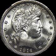 1916-D Ngc MS65 Barber Quarter