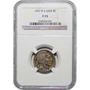 1937-D 3 Legs Ngc F15 Buffalo Nickel