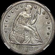1872-CC Ngc AU53 Liberty Seated Dollar