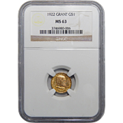 1922 Ngc MS63 Grant, No Star One Dollar Gold