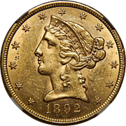 1892-S Ngc MS61 $5 Liberty Head Gold