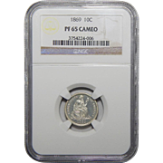 1869 Ngc PF65CAM Liberty Seated Dime