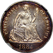 1884 Ngc PF68 Liberty Seated Dime