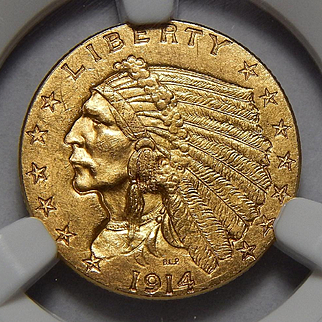 1914 Ngc MS63 $2.50 Indian Gold