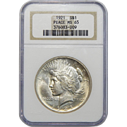 1921 Ngc MS65 High Relief Peace Dollar