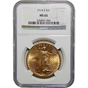 1914-S Ngc MS65 $20 St. Gaudens Gold
