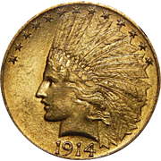 1914 Ngc MS64 $10 Indian Gold