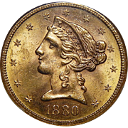 1880-S Ngc MS64 $5 Liberty Head Gold