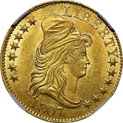 1807 Ngc MS64 $5 Draped Bust Gold - Bust Right