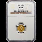 1855-O Ngc AU58 $1 Gold