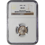 1890 Ngc MS65 Liberty Seated Dime