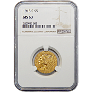 1913-S Ngc MS63 $5 Indian Gold