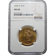1856-S Ngc MS60 $10 Liberty Head Gold