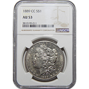 1889-CC Ngc AU53 Morgan Dollar