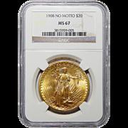 1908 Ngc MS67 $20 No Motto St. Gaudens Gold