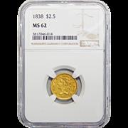 1838 Ngc MS62 $2.50 Classic Head Gold