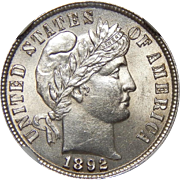 1892 Ngc MS62 Barber Dime
